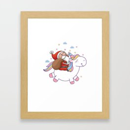 Funny Christmas and unicorn! Framed Art Print