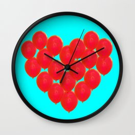 Red balloons in heart Wall Clock