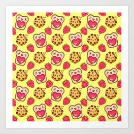 Cute funny sweet adorable happy Kawaii toast with raspberry jam and butter, chocolate chip cookies, red ripe summer strawberries cartoon fantasy sunny yellow pattern design Art Print