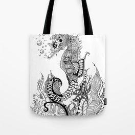 Zentangle Seahorse Tote Bag