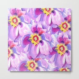 Hand painted lavender pink yellow watercolor floral pattern Metal Print