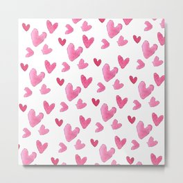 Be my valentine blush pink vector romantic heart pattern Metal Print