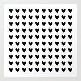 Small Black Hearts Art Print