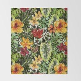 Tropical Vintage Exotic Jungle Flower Flowers - Floral watercolor pattern Throw Blanket