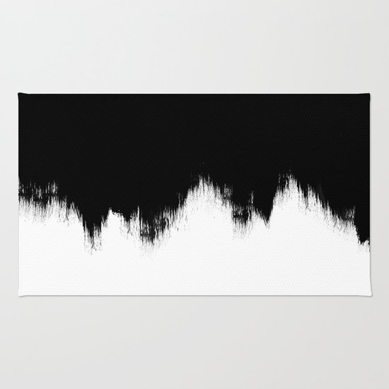 Black And White Abstract Art Rug