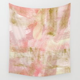 Rustic Gold and Pink Abstract Wall Tapestry