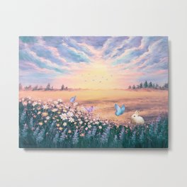 The Morning Light on Gold field Metal Print