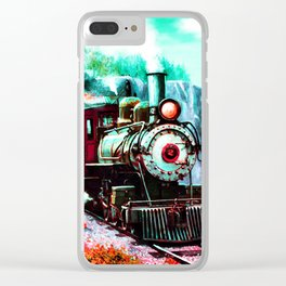 starry night train Clear iPhone Case