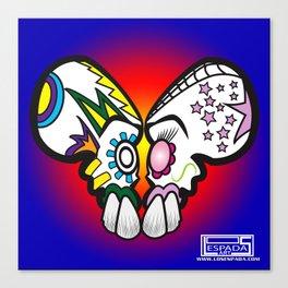 2 skulls,1 heart Canvas Print