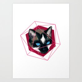 Cat Trapped in Geometry Art Print