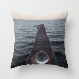 Pier Reflection in Glass Ball Throw Pillow