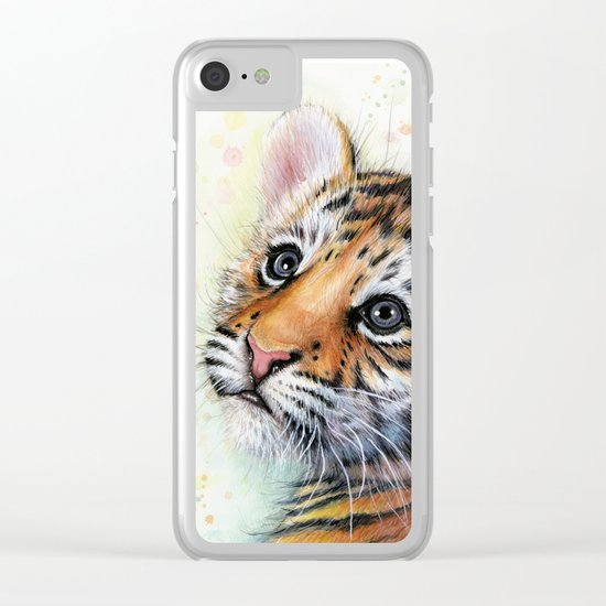 Tiger Cub Watercolor Painting Clear iPhone Case