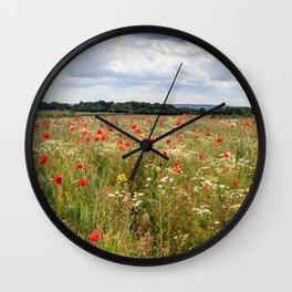 Panoramic Poppies Wall Clock