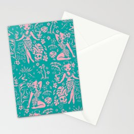 Tiki Temptress in Pink and Turquoise Stationery Cards