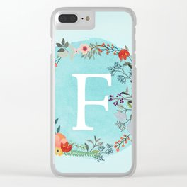 Personalized Monogram Initial Letter F Blue Watercolor Flower Wreath Artwork Clear iPhone Case