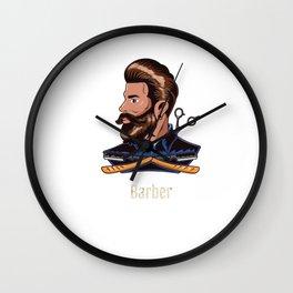 Men's Hairdresser Salon Hairdresser Bearded Barber Illustration Wall Clock