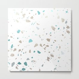 Terrazzo Faux Silver and Aqua Blue Metal Print