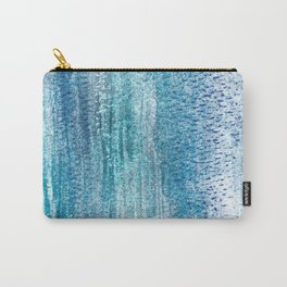 Aqua Blue Watercolor Print - Abstract Vertical Stripe Design Carry-All Pouch