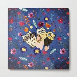 3 Wise Owls in Flower Garden at Night Metal Print