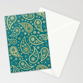 Paisley Funky Design Gold & Teal Stationery Cards