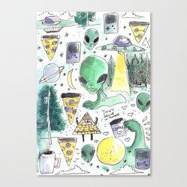 alien horror pizza pattern moon Canvas Print