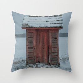 Snow Covered Outhouse Rural Michigan Winter Field Throw Pillow