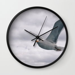 flying white seagull Wall Clock