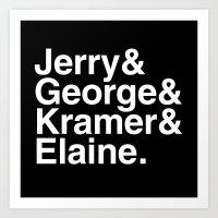 seinfeld Art Prints featuring Seinfeld Jetset by Bill Pyle