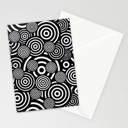 BLACK AND WHITE BULLSEYE ABSTRACT Stationery Cards