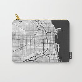 Chicago Map Gray Carry-All Pouch