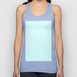Tiny Spots - White and Celeste Cyan Unisex Tank Top