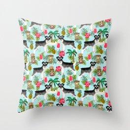 Schnauzer tiki pattern floral hibiscus floral flower pattern palm leaves Throw Pillow