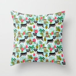 Schnauzer tiki pattern floral hibiscus floral flower pattern palm leaves Throw Pillow
