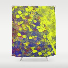 Take The First Step - Abstract, blue and yellow pattern Shower Curtain