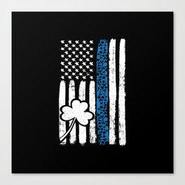 Thin Blue Line Shamrock St Patricks Police Canvas Print