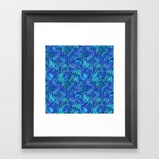 Palm watercolor tropical blue night Framed Art Print