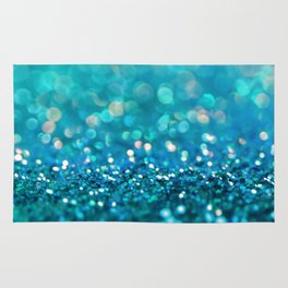 Teal turquoise blue shiny glitter print effect - Sparkle Luxury Backdrop Rug
