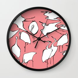 "Hokusai (1760-1849) ""Cranes from Quick Lessons in Simplified Drawing""(edited) Wall Clock"