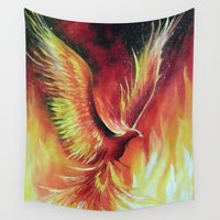 phoenix Wall Tapestries featuring phoenix by OLHADARCHUK