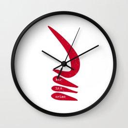 War is a crime   AKOBEN   West African War Horn in Warrior Red Wall Clock