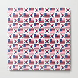 Mix of flag: USA and South Korea Metal Print