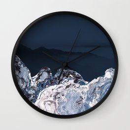 BLUE MARBLED MOUNTAINS Wall Clock