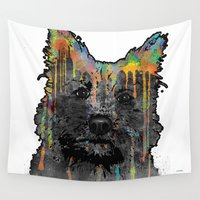 terrier Wall Tapestries featuring Cairn Terrier by Marlene Watson