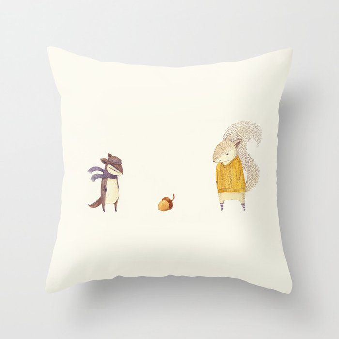 The Last Acorn of Autumn Throw Pillow