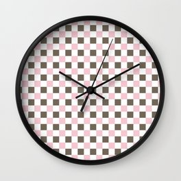 Pink and brown squares Wall Clock