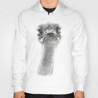 ostrich Hoodies featuring Cute Ostrich SK053 by S-Schukina
