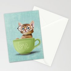 Kitten with glasses Stationery Cards