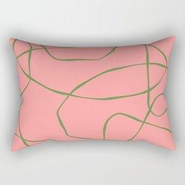 Green Line Art on Pink Background Rectangular Pillow