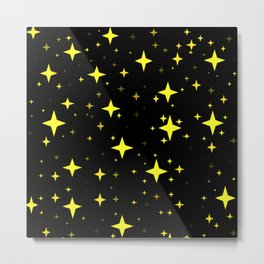 Bright Yellow Stars in Space , Cristmas Stars Metal Print