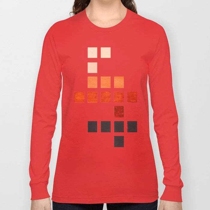 Colorful, Burnt Sienna, Mid Century, Modern, Minimalist, Square, Geometric, Pattern Long Sleeve T-shirt